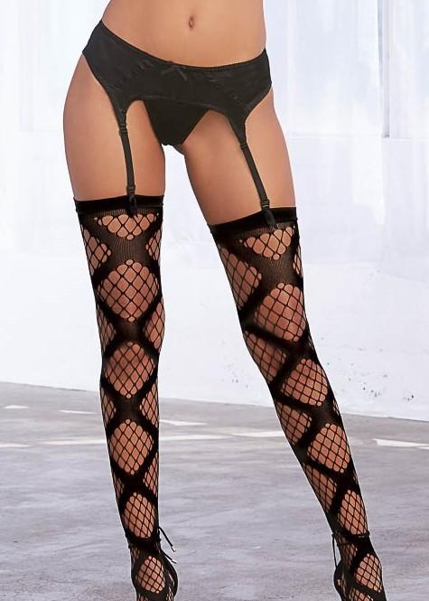 Diamond net thigh high stockings large X design 0339 Edmonton