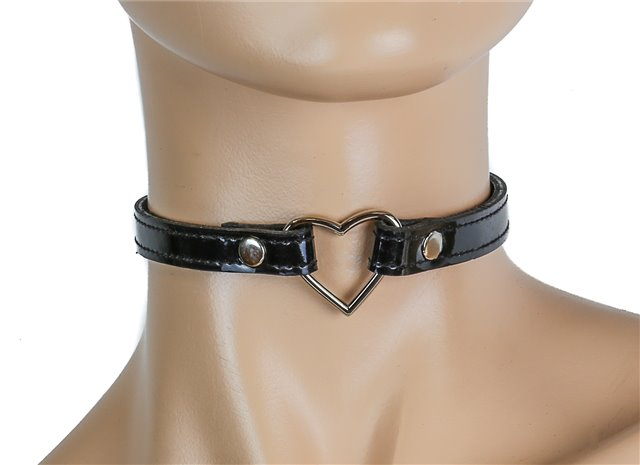 Black Patent Heart Ring Collar 0546bs Edmonton