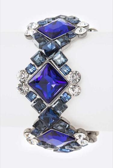 Sparkling stretch rhinestone bracelet blue clear silver 167991 Edmonton