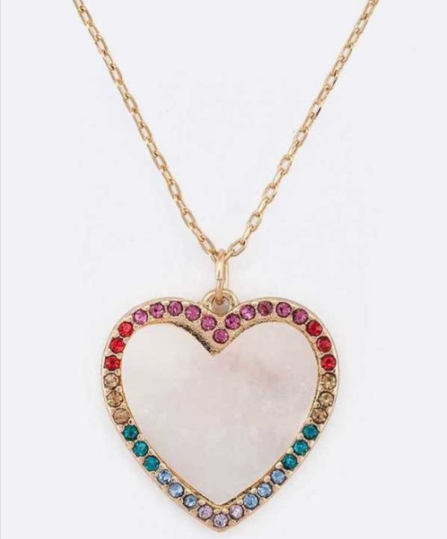 Sparkling crystal rainbow heart necklace 3602 Edmonton