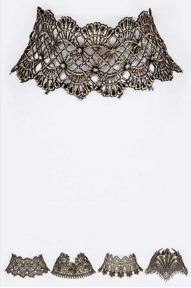 Gold metallic lace choker 5878 Edmonton