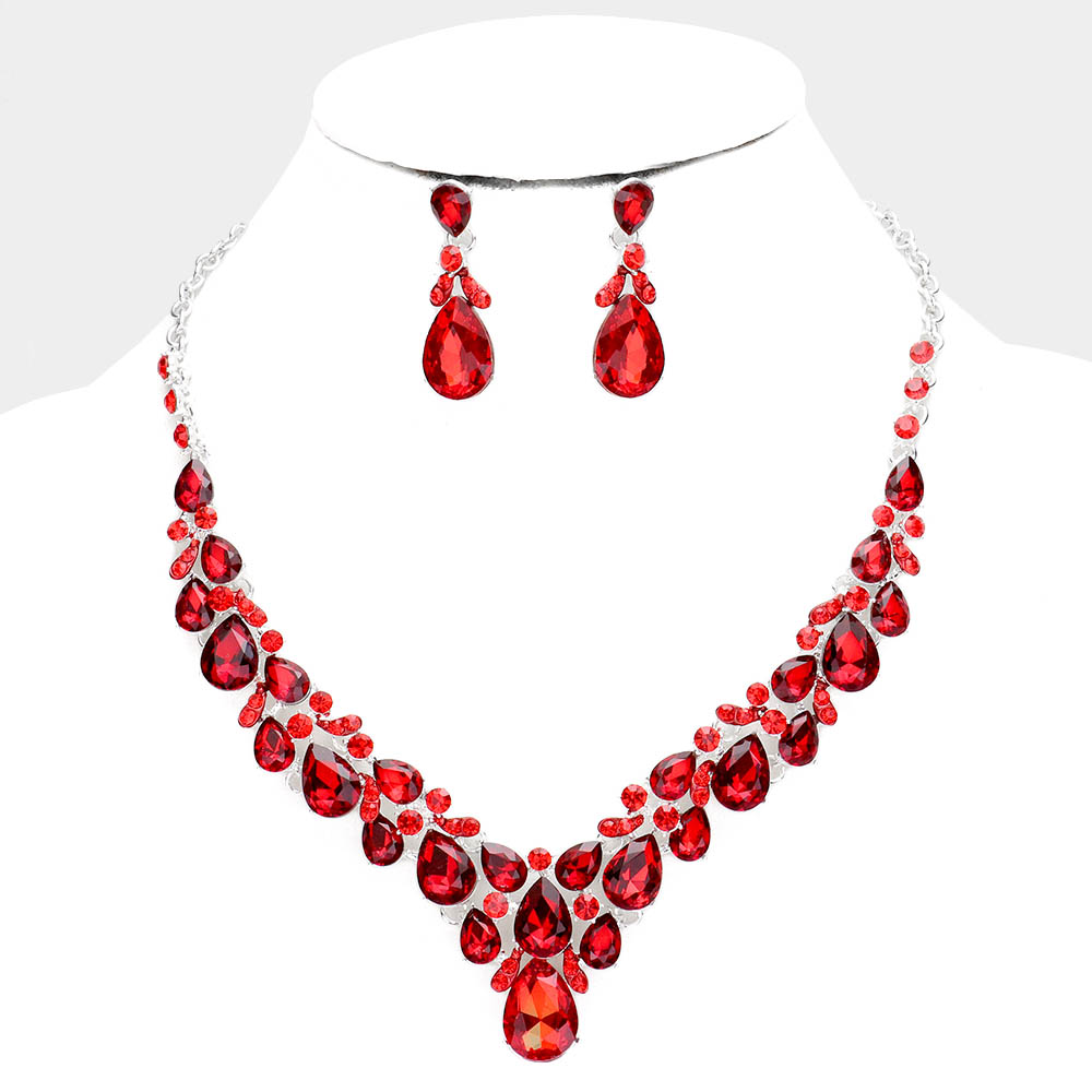 Sparkling rhinestone necklace matching earrings red 446065 Edmonton