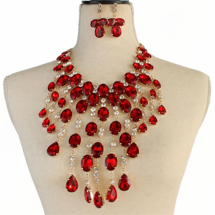 Sparkling red rhinestone necklace 173326 Edmonton