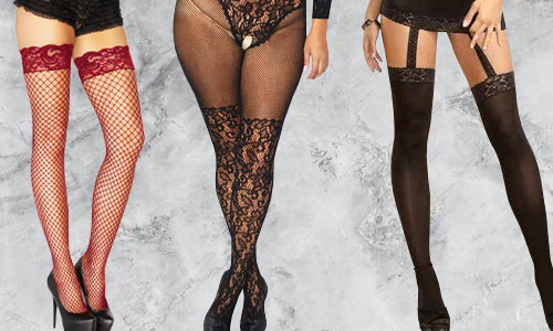 Stockings and tights in a variety of colours, fabrics, and styles. In plus size too!
