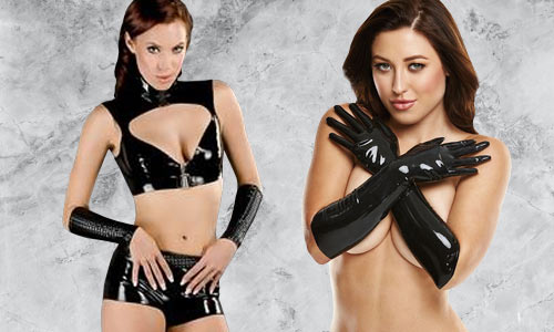 Latex clothing and lingerie, as seen on celebrities, models, and at fetish parties