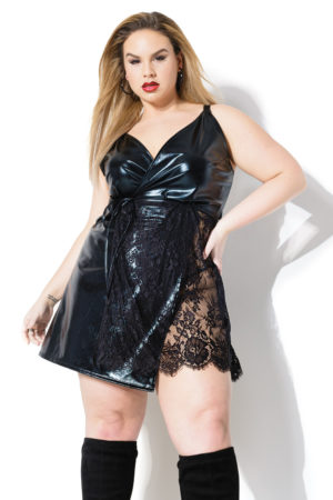 plus size latex and lace dress