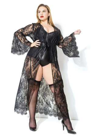 Eyelash Lace Robe Kimono Cover-up