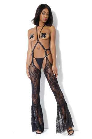 Lace Harness Chaps Leggings