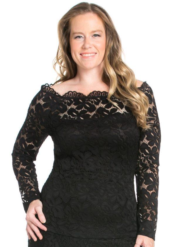 Black Lace Plus Size Top Edmonton