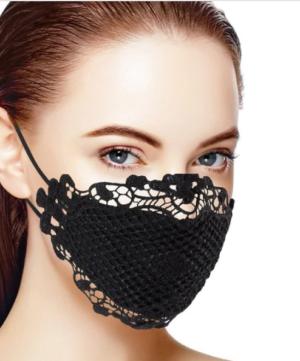 Embroidered Black Lace Mask Edmonton