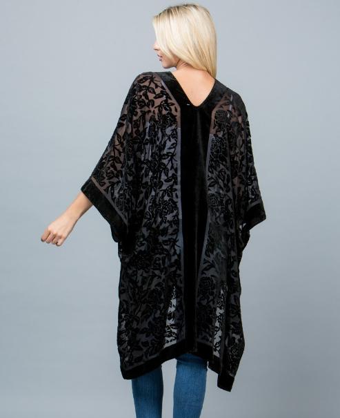 Burn Out Velvet Kimono Robe Jacket Edmonton