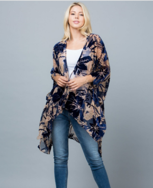 Royal Blue Burn Out Velvet Kimono Robe Jacket Edmonton