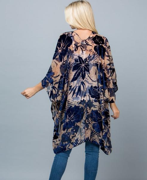 Royal Blue Burn Out Velvet Kimono Robe Jacket Edmonton