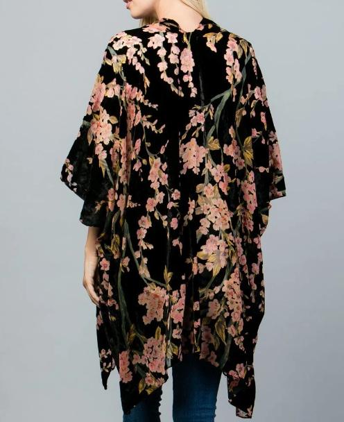 Pink Floral Burn Out Velvet Kimono Robe Jacket Edmonton