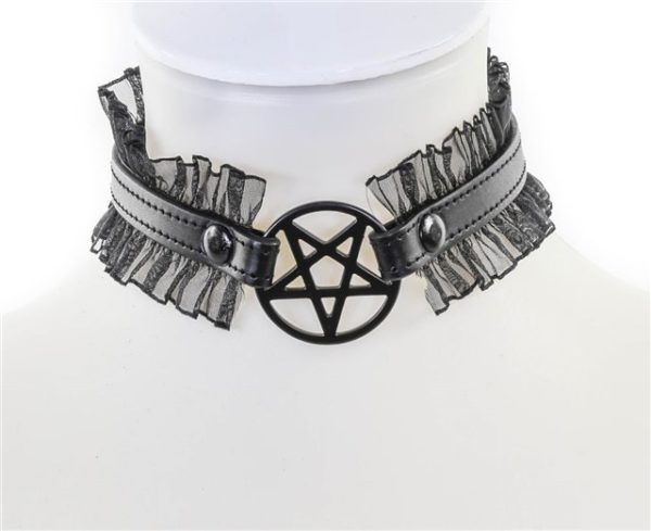 Black Pentagram Collar with Ruffles Edmonton