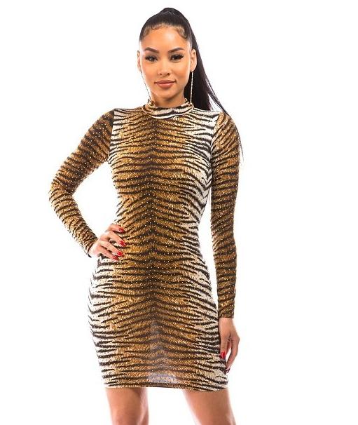 Rhinestone Tiger Dress Edmonton