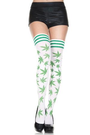 Pot Leaf Thigh High Stockings